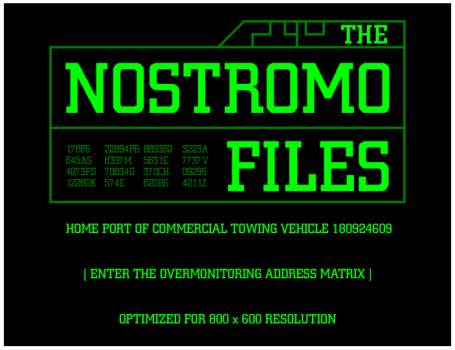 The original home page for The Nostromo Files. Note the screen resolution...