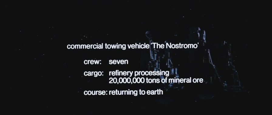 This title card establishes the amount of ore aboard the refinery.