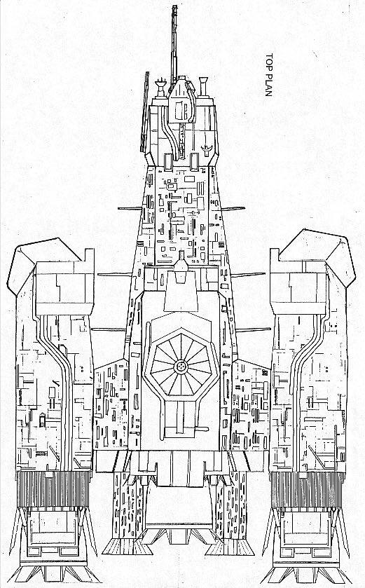 "Original Nostromo plan drawing from The Nostromo Files, c. 1990s, with ""hairy legs"" secondary thrusters."
