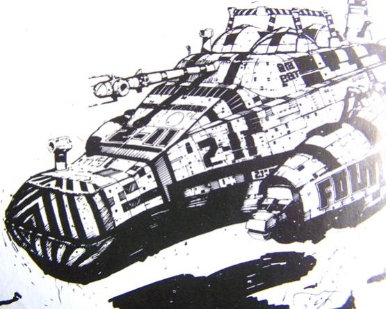 Another Foss sketch. The nose and wings of the ship resemble those of the final design.