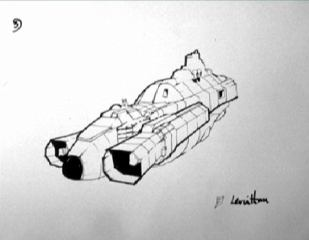 A sketch of the temporarily named Leviathan, by Chris Foss.