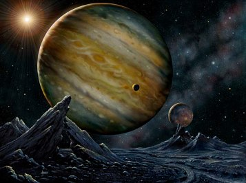 A view from the moon of the extrasolar planet in orbit around the star HD23079. The planet is about three times the mass of Jupiter and orbits the star in 628 days, with a nearly circular orbit of one and a half times the Earth-Sun distance (almost the same as that of Mars). Artist's impression by David A. Hardy, courtesy of the Particle Physics and Astronomy Research Council (United Kingdom).