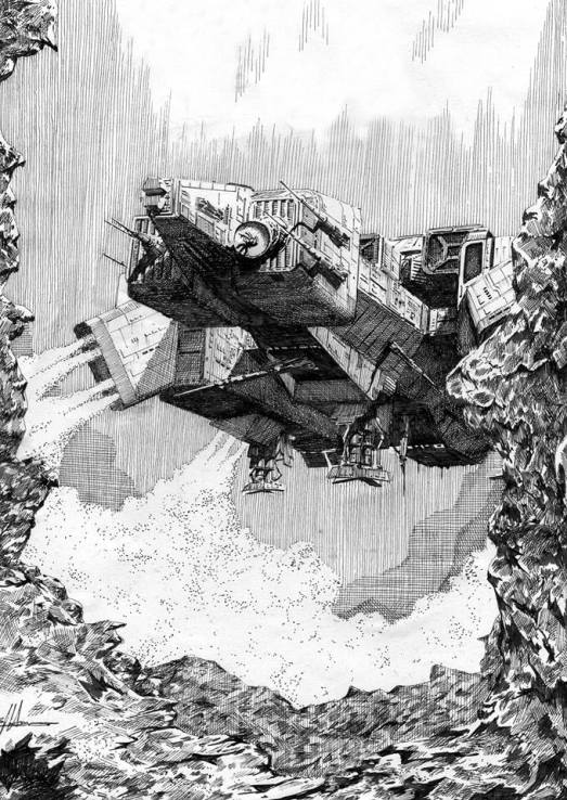 NOSTROMO Landing - Pen and Ink Drawing (c) Simon Atkinson 2002. Used with permission.