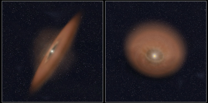 The two images (left, HD 141943; right, HD 191089) reveal debris disks around young stars uncovered in archival images taken by NASA's Hubble Space Telescope. The illustration beneath each image depicts the orientation of the debris disks. Image Credit: NASA/ESA, R. Soummer, Ann Feild (STScI)