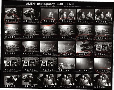 Bob Penn contact sheet of the planetoid surface sequence.