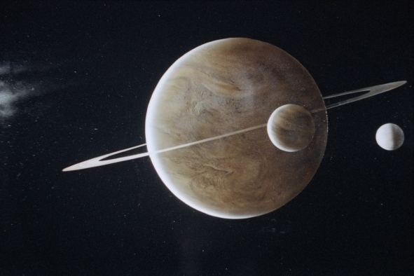 Matte painting of the planetary system.