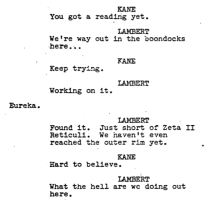 Excerpted from the Alien script, Revised Final, June 1987 (rev. thru Oct. 4, 1978), Sc. 98.
