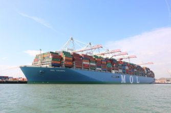 MOL Triumph docked at the port of Southampton, May 11, 2017. Photo: Andrew McAlpine