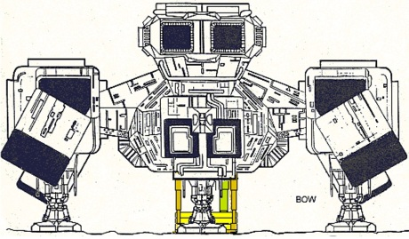 When Prometheus showed us how that ship deployed its debarkables, I applied that logic to Nostromo. Here's the bow view.