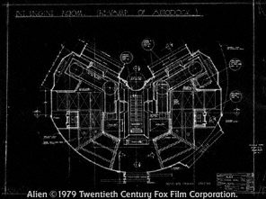 Nostromo engine control room set plans (reused as the infirmary). 20th Century Fox