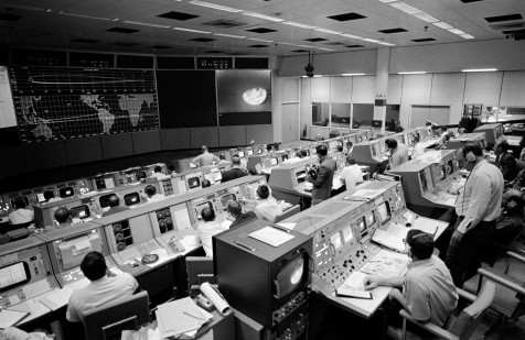 The Mission Control Center at the Johnson Space Center, Houston, Texas