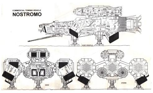 The original Halcyon Nostromo kit plan drawing combined into a 3-view.