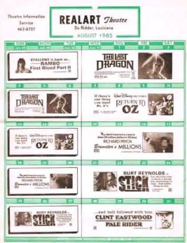 Old Realart Theatre show sheet