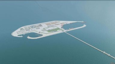 Concept art of an artificial island, with plans for a port, cargo terminal and even an airport.