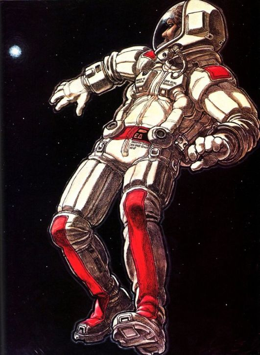 A Ron Cobb spacesuit concept, from an early idea about the movie's ending that included Ripley being ejected into outer space.