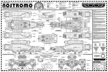 The one that I believe started them all: The USCSS Nostromo, from which many modelers have scratch-built their own creations, given the authenticity of the dimensions on this plan.