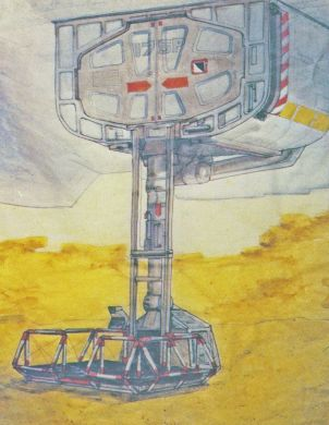 Another Ron Cobb beauty: conceptualization of the airlock lift.