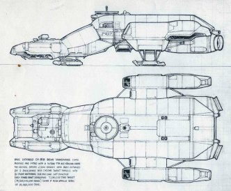 Ron Cobb's awesome drawing and technical specs for the 'Leviathan,' a precursor to the 'Nostromo.'