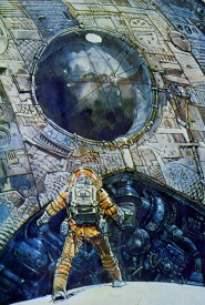 Moebius's drawing of the crew encounter with the derelict
