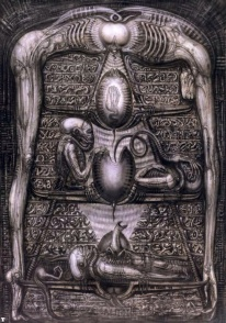 Giger's conceptualization of the alien creature's life cycle.