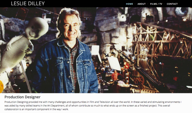 Screenshot of Les Dilley's professional website.